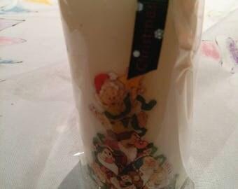 Handmade Christmas  7 dwarf decoupage Pillar candle