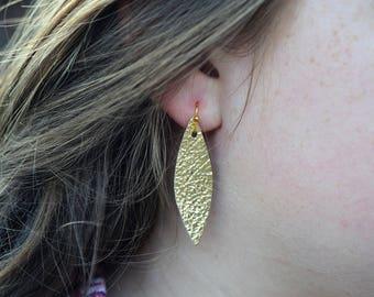 Metallic Gold Feather earrings