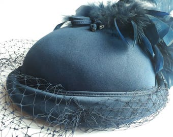 Vintage blue hat with feather and veil by Pauline for Bermona