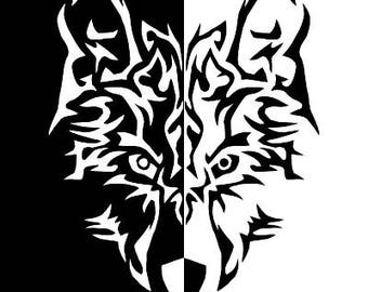 Tribal SVG, Silhouette wolf, Tribal PNG, wolf Cut Files, Svg Files, Cricut Files, Silhouette Files