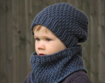 Slouchy Hat and Cowl Set (sizes: 3-6 years, Boys or Girls) - Ready to Ship