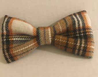 Tan Plaid Pet Bow Tie