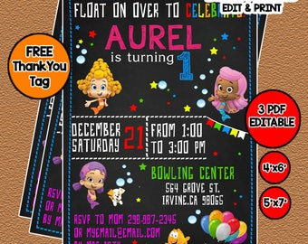 Bubble Guppies Birthday Invitation, Bubble Guppies Invitation Thank you Tag, Instan Download Editable Birthday Invitation Template For Girl