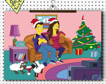 Simpsons portrait custom New Year family portrait from your photo personalized gift christmas simpsons portrait digital caricature