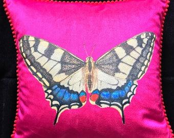Velvet Sherbet Pink Butterfly Cushion