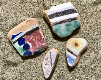 Sea Pottery South European Beach Pottery * Colorful Mediterranean Terracotta Pieces * 4 Shards Italian Sea Pottery * Hand Decorated