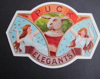 Puck Elegants Cigar Box Label