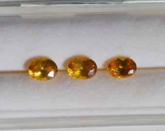 Lot of 3 Ceylon Sapphires - Faceted, natural color, yellow, clean, corundum, oval, approx. 6 x 4 mm, 1.75 TCW, F1945