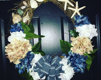 Nautical Blue & White hydrangea wreath