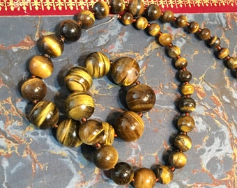 Tiger Eye graduated strand, 43 beads, 6 mm - 14 mm, only 1 available