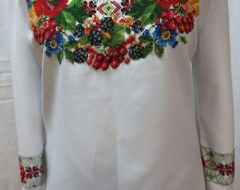 Women blouse Ukrainian vyshyvanka embroidery blouse embroidered shirt Ukrainian clothing embroidery beads Handmade! Clothing gift ethno