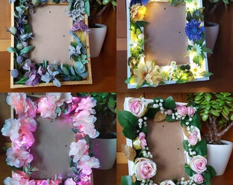 Custom home / wedding decor -- beautiful embellished floral LED frame -- unique, botanical, rustic, boho, blossom -- handmade to order
