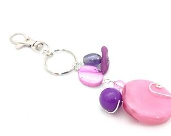 Pink and purple beaded keychain bag charm keyring