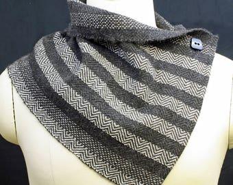 Mandana Hug™ Cowl, handwoven, Alpaca and Silk, Twill Design, Natural Colors