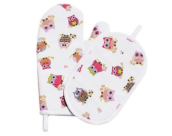 "Glove ""Owls"" Judy and Potholder set"