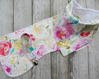 Bandana Bibs/ Floral Bib/Baby Girl Bib/Watercolor Floral Bib/Burp Cloth/Pacifier Clip