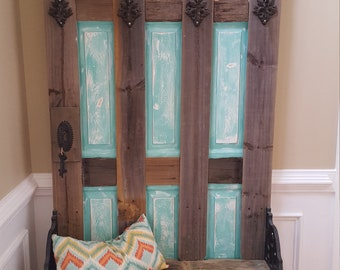 Wooden and Turquoise Hall Tree