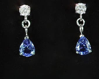 18ct gold 0.75ct diamond 2.52ct tanzanite drop earrings