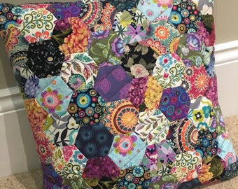Hexagon Patchwork Designer Fabric Quilted Cushion