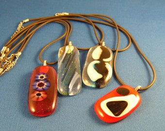 Fused Glass Pendants Reduced Price Clearance
