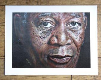 MORGAN FREEMAN print from original artwork by Tracey Bryant