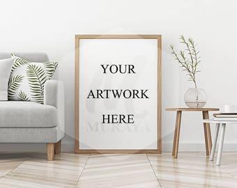 Wood Frame Mockup, Wood Portrait Frame, Styled Stock Photograpy, Scandinavian Style Interior, PSD Mockup, Digital Item, Natural Lighting