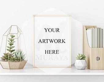 Gold Frame Mockup, Gold Landscape Frame Mockup, Styled Stock Photograpy, Scandinavian Style Interior, PSD Mockup, Modern Design