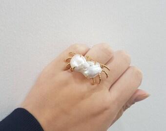 Baroque Pearl Crab Ring 20170004