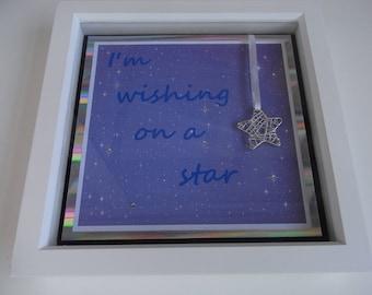 Wishing on a star box frame, stars, wall art, wall decor.