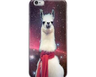 Nebula space Geometric Scarf Llama Meme Humor iPhone Case scarf Llama iphone cases