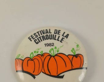 Vintage Iberville pumpkin festival pinback button