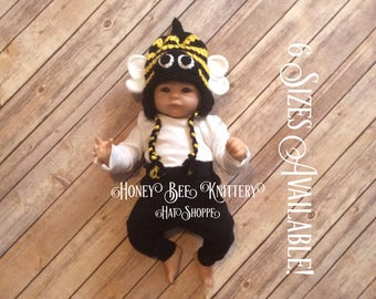Honey Bee Hat - 6 sizes available; beehive, bug, buzz, hornet, insect, yellow jacket, bumble bee   ***READY TO SHIP***