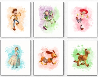 Toy Story Print-Toy Story Watercolor-Woody Print- Buzz poster-Jessie Print-Bo Peep Print-Toy Story Party-Toy Story Decor-Toy Story Birthday