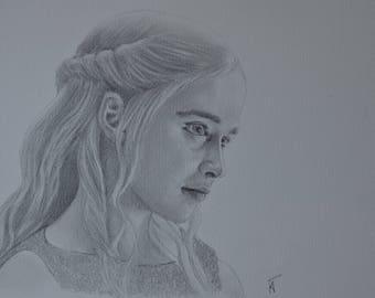 Portrait of Daenerys Targaryen - Game of thrones, handmade, unique artwork