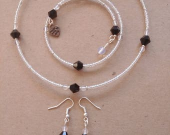 Moonstone and Black Crystal Jewelry Set