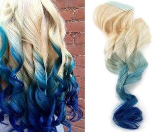 Ombre hair extension etsy ready to ship 12 tape in remy indigo blue ombre human hair extensions 613 blonde pmusecretfo Gallery