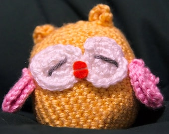 Crocheted Owl - Sunshine Soliel with Soft Pink wings