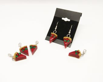Polymer Clay fantasy christmas pie earrings and charms handmade