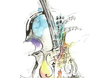 Watercolour print Violin Lovers in the Streetlight