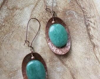 Oxidized Copper Earrings Aventurine