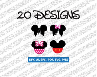 20 Mickey Mouse Monogram Frames SVG Collection - Minnie Mouse Monogram Frames DXF -Clipart - Cameo Cricut