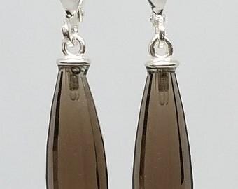 Earrings, Smoky quartz, 22 X 7 mm