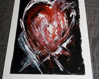 Strawberry Black Heart: Individual A4 Prints, Abstract Heart Motif, Original Art Work using Acrylic paint, Contemporary Design Black Red