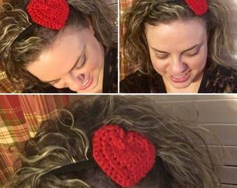 Crocheted Heart Headband
