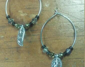 Hoop Bead Leaf Earrings