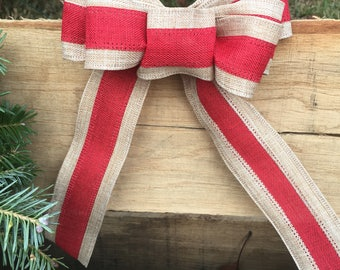Red and Burlap Bow-Small