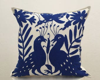 authentic Mexican handmade pillow cover blue embroidered textile decorative throw pillow bohemian boho cushion cover
