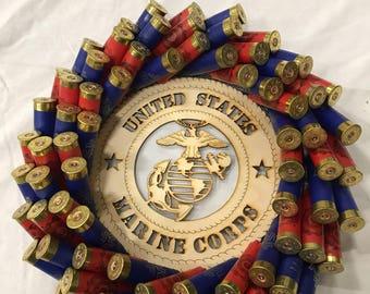 12inch Marine Corps red and blue shotgun shell wreath