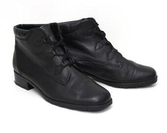 EU 38.5 black ankle boots women - vintage Gabor Lady black leather shoes size UK 5.5 / US 8 - 90s granny women winter shoes - soft lining