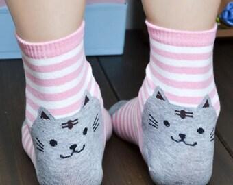 Supercute Cat Cartoon Pink Stripes Kaus kaki Hosiery Meias Calcetiness Calzini Chaussette cute low ankle cut socks High Quality Material
